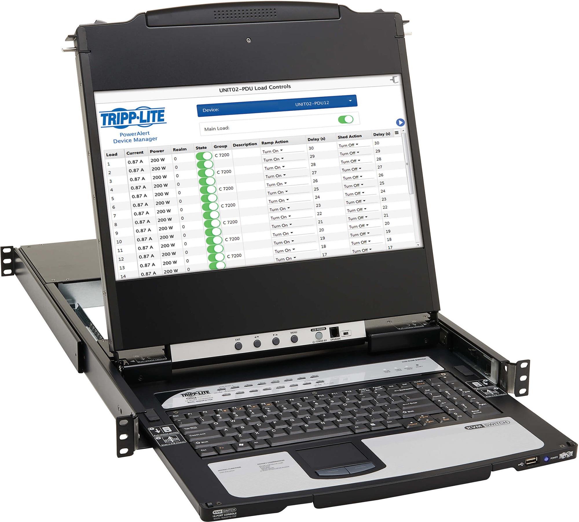 Tripp Lite B030-DP16-17DIP DisplayPort IP KVM Console Switch 16-Port 17 Inch LCD Dual Rail - 1URM B030-DP16-17DIP