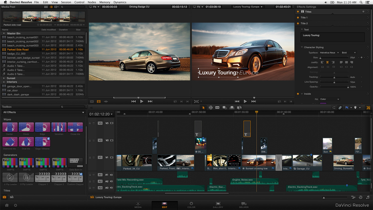 Davinci resolve editing software