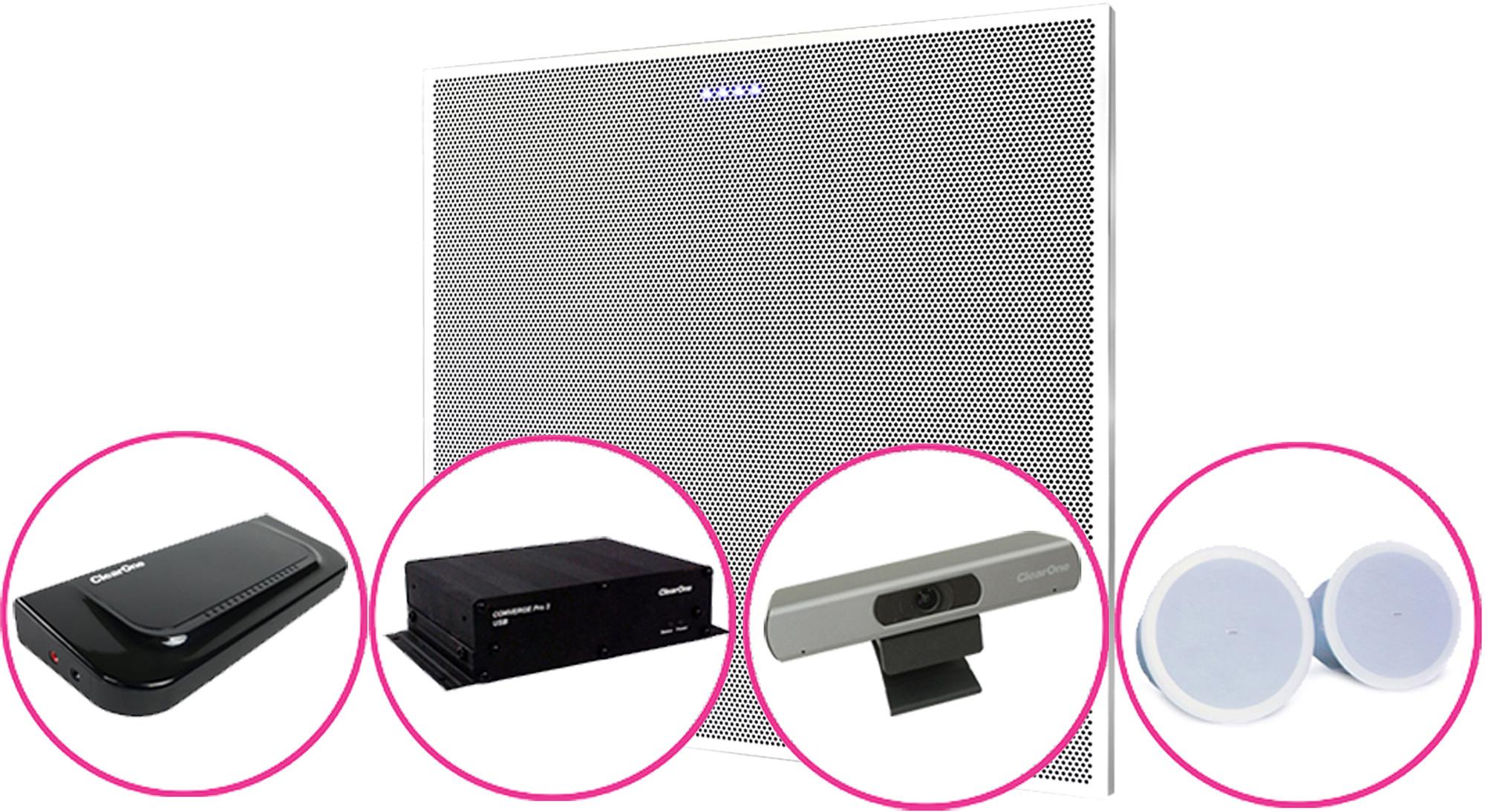 ClearOne COLLABORATE Versa Room CT COLLABORATE Versa Hub & Versa USB/UNITE 50 4K ePTZ Camera/Ceiling Loudspeaker CL1-930-3200-020