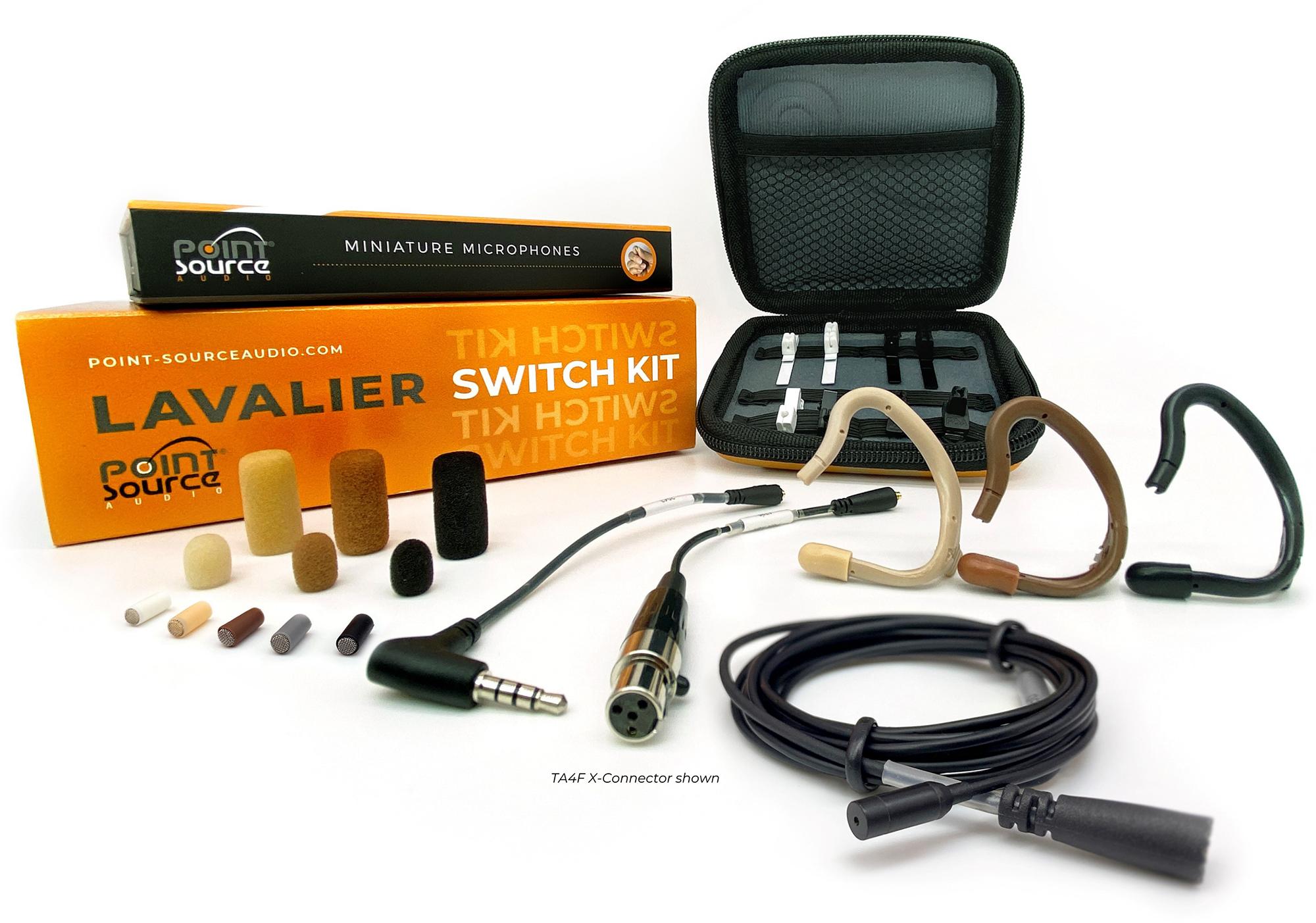 Point Source Audio Switch Kit w/ SERIES8 Omni High Sens Lav Mic & Accs Set w/ Organizer For Sony Wireless Black CO-8WLH-KITXSYBL