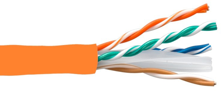Connectronics 10X8-217TH-CMR 550MHz CAT6 Ethernet Cable - 1000 Foot - Orange CTX-10X8217THCMR