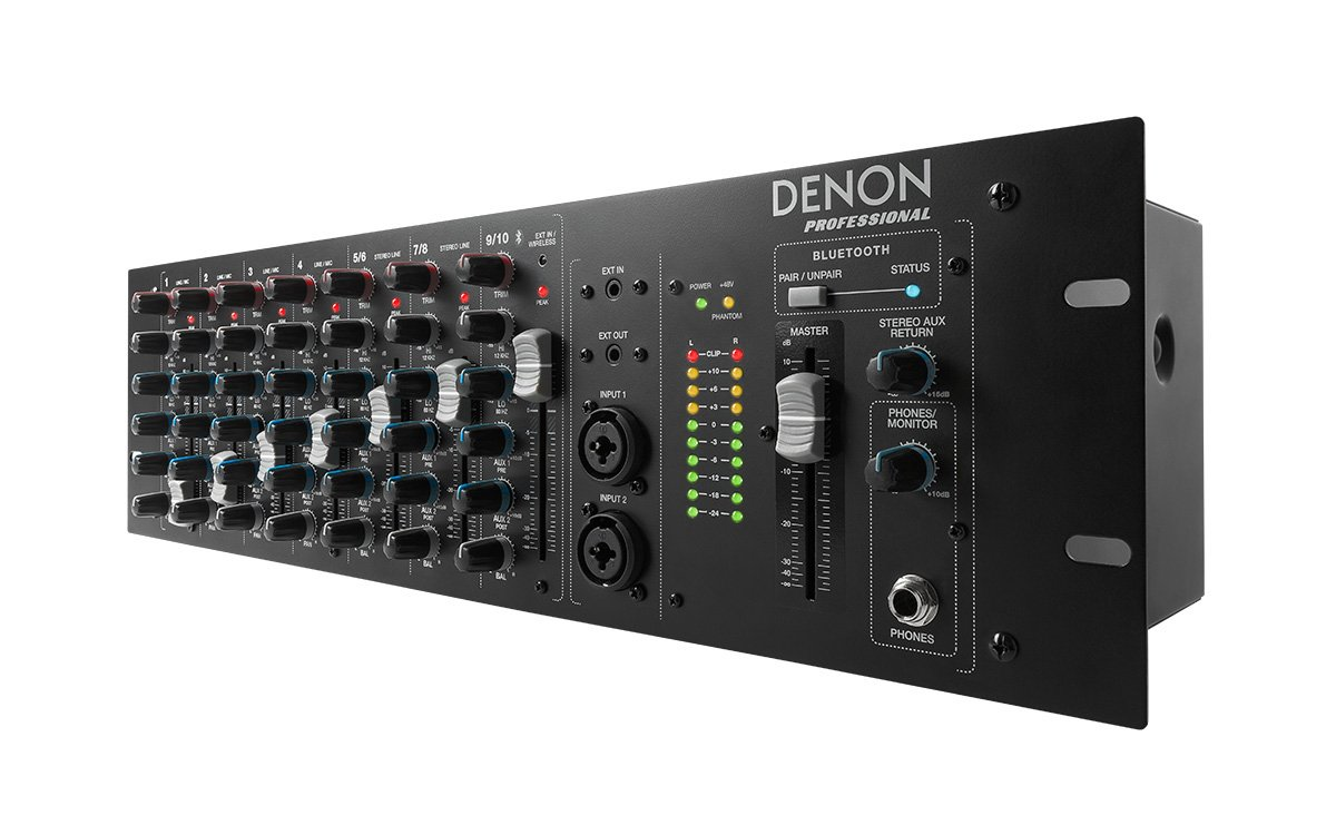 Denon Dn 410x 10 Channel Rackmount Mixer With Bluetooth Stereo For Microphone 2 Channels