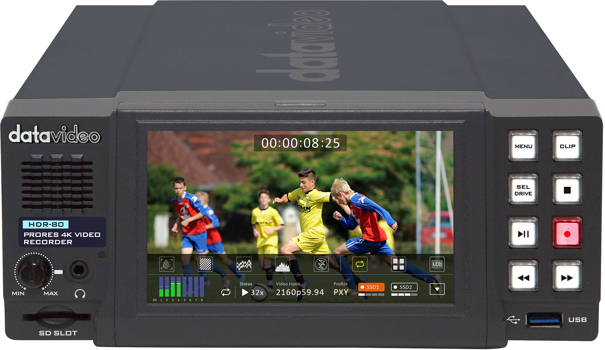 Datavideo HDR-80 4K ProRes Digital Video Recorder with Touch Screen Panel - Desktop Model DV-HDR-80