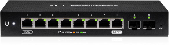 Ubiquiti ES-10X EdgeSwitch Ethernet Switch - 8 Ports - Manageable - 2 Layer Supported - Modular - 2 SFP Slots  ES-10X