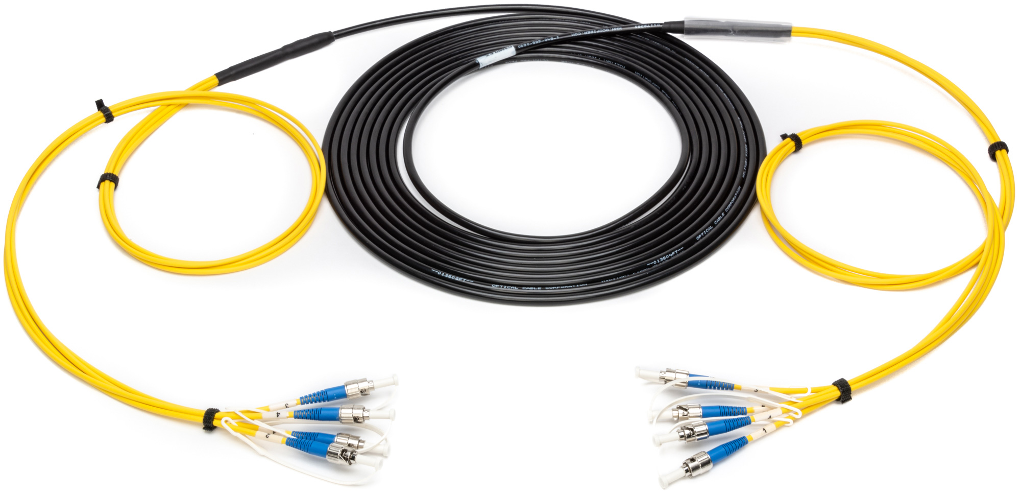 Camplex 4-Channel ST-Single Mode Tactical Fiber Optical Snake- 50 Foot