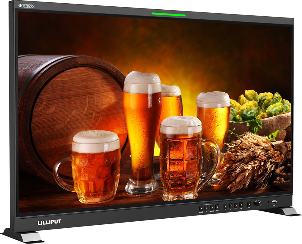 Lilliput Q31-ABBP 31.5 Inch Base Mount 12G-SDI and HDMI Professional Production Studio Monitor with Gold Mount Plate LIL-Q31-ABBP