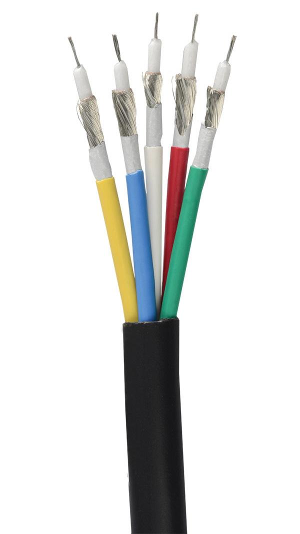 Liberty RGB5C-PLN Plenum Cable 5 X 26 MHR CL2P - Black - 500 Foot Spool