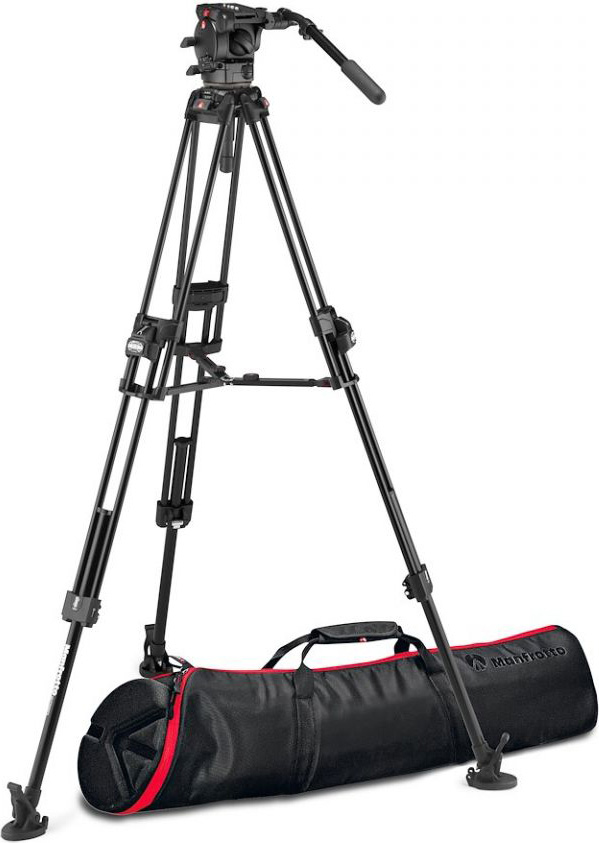 Manfrotto MVK526TWINFAUS 526 Pro Fluid Video Head with 645 Fast Twin Aluminum Tripod MAN-MVK526TNFAUS