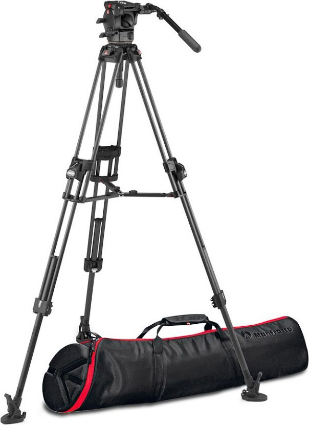Manfrotto MVK526TWINFCUS 526 Fluid Video Head with 645 Fast Twin Carbon Tripod MAN-MVK526TNFCUS