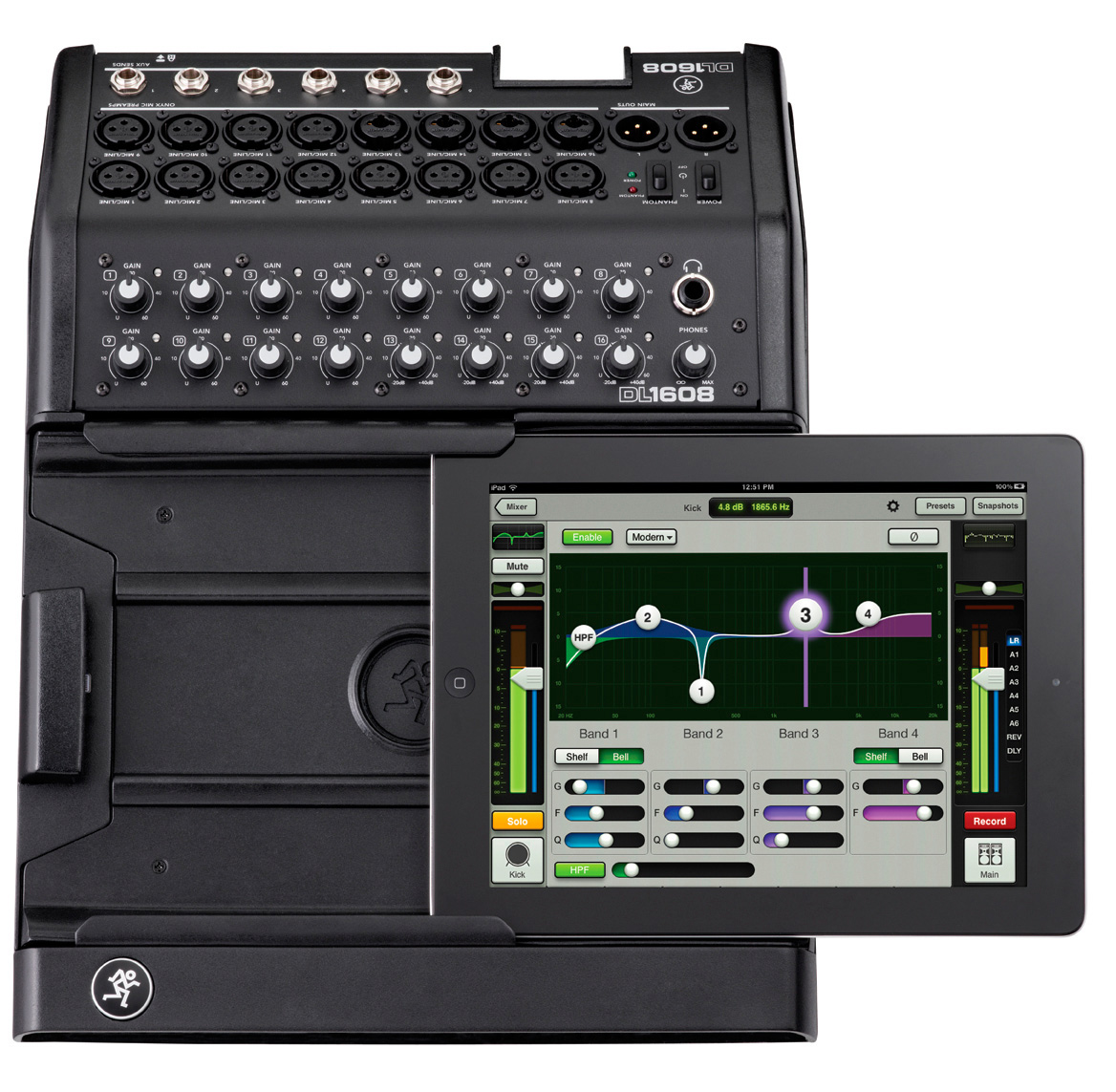 mackie dl1608l 16 channel digital live sound mixer with ipad control via lightning connector. Black Bedroom Furniture Sets. Home Design Ideas