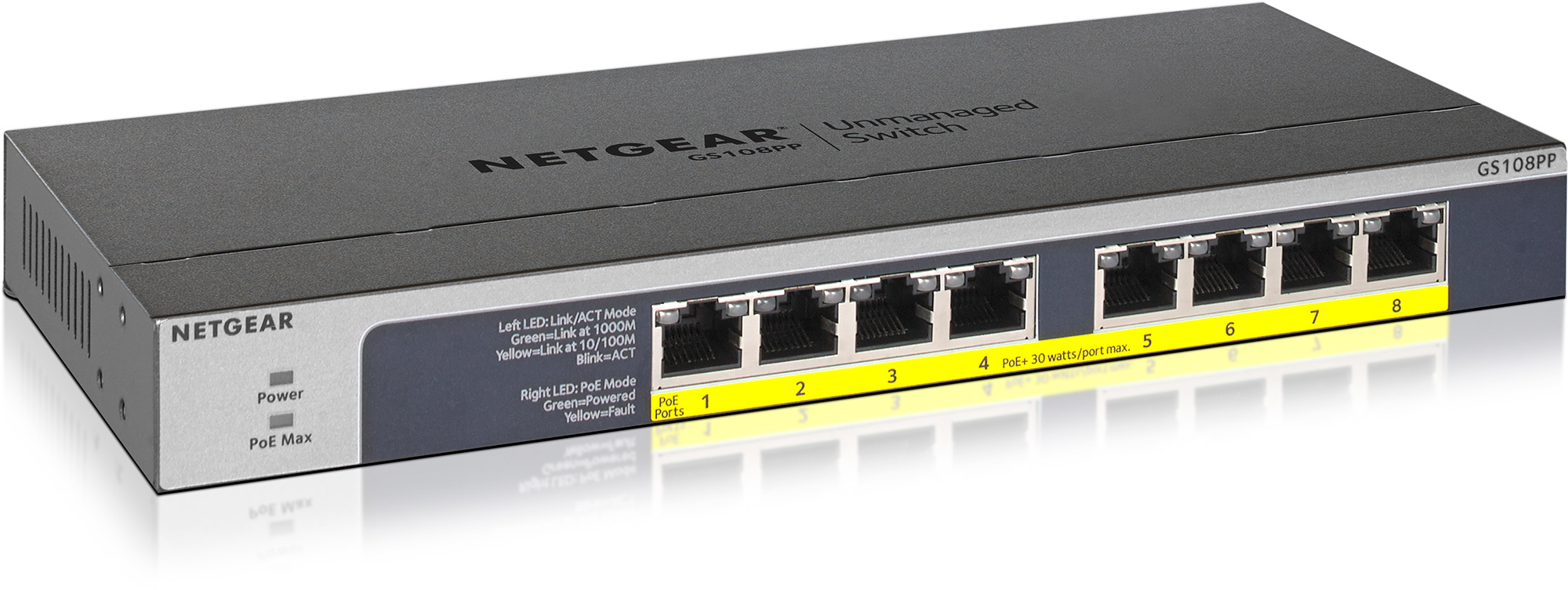 NETGEAR GS108PP-100NAS 8 Port PoE/PoE plus Gigabit Ethernet Unmanaged Switch  GS108PP-100NAS
