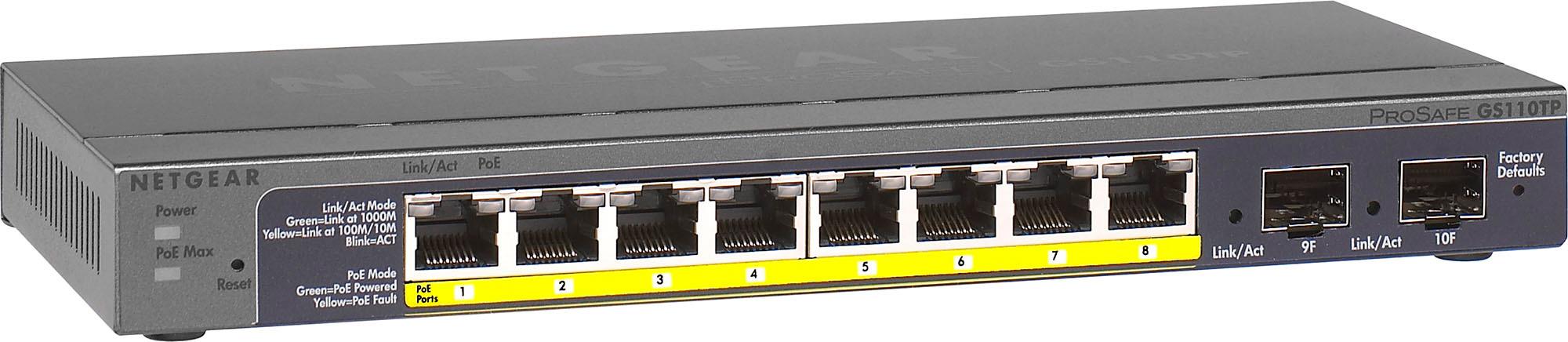 Netgear GS110TP-300NAS 8-Port Gigabit PoEplus Ethernet Smart Switch with 2 SFP Ports and Cloud Management - 55 Watt  GS110TP-300NAS