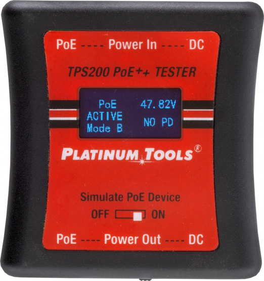 Platinum Tools TPS200C Dual RJ45 / 5.5mm DC Jack PoE Tester PLAT-TPS200C