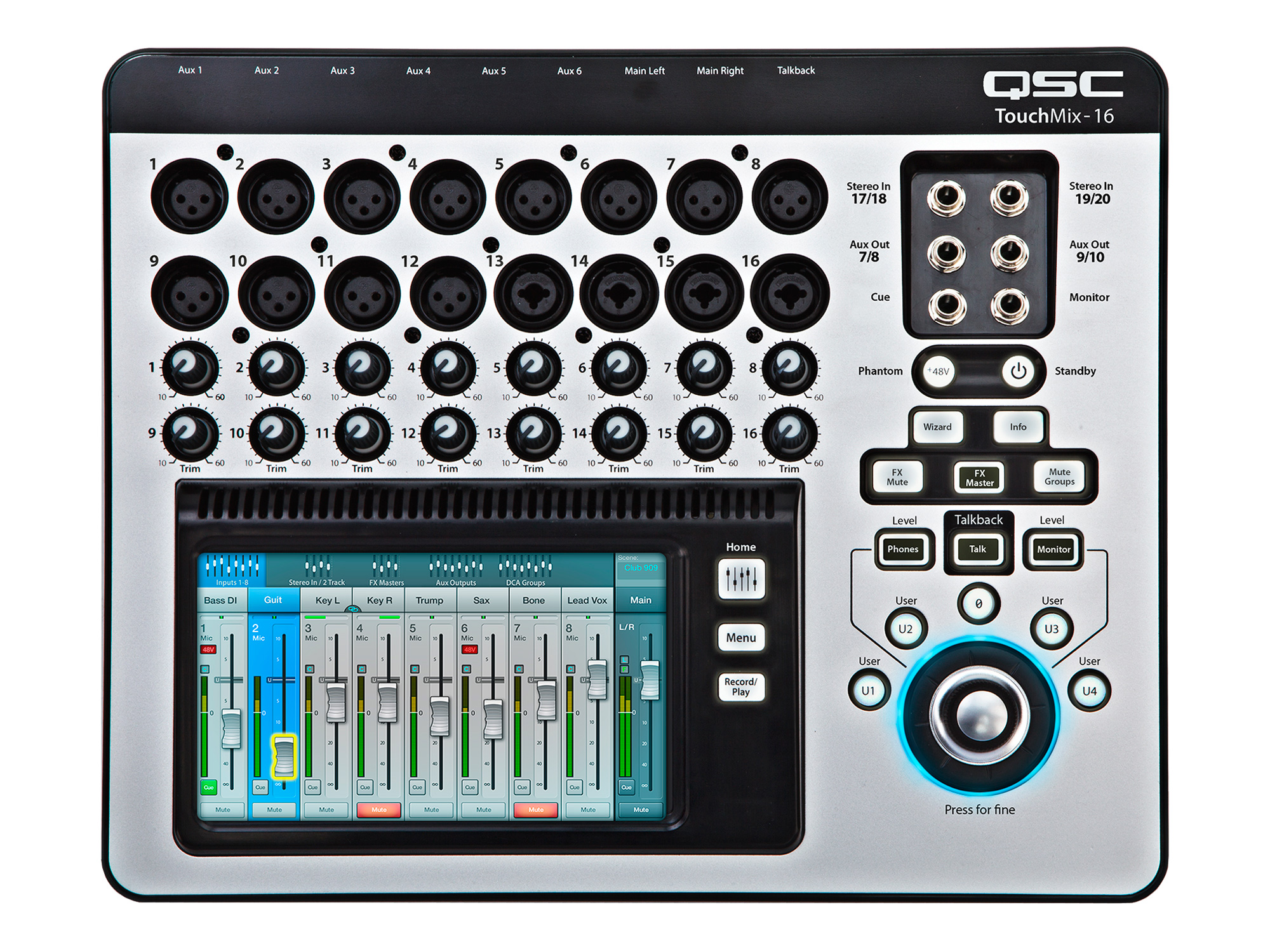 qsc touchmix 16 20 channel digital audio mixer with 12 mic 4 mic line inputs