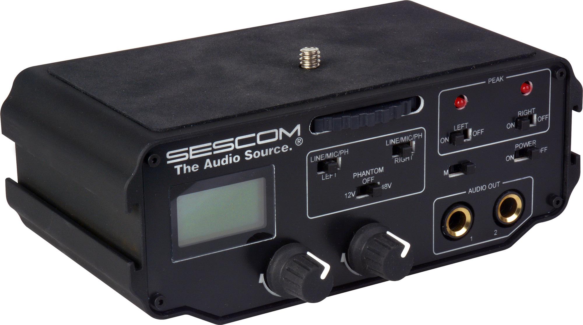 sescom bmcc mix1 2 channel xlr audio mixer with level meter peak controls phantom power for. Black Bedroom Furniture Sets. Home Design Ideas