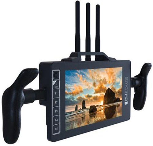 Small HD MON-703U-SK-RX-GM 7-Inch Full HD Monitor/Receiver with Directors Handles and Gold Mount Battery Plate SMHD-MON703USKRX