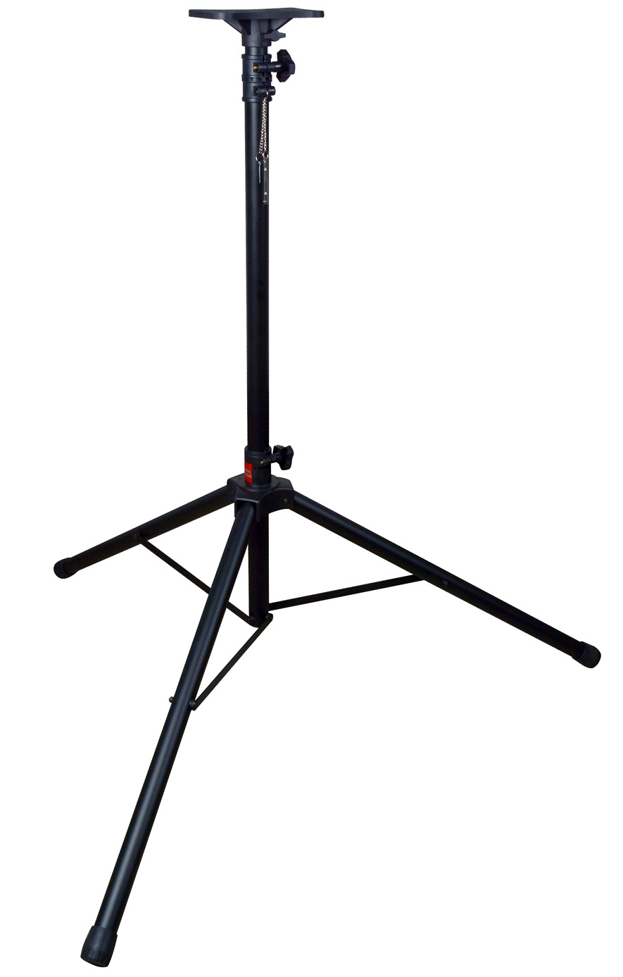 tripod speaker stand with speaker mounting plate and 1 3 8in tube. Black Bedroom Furniture Sets. Home Design Ideas