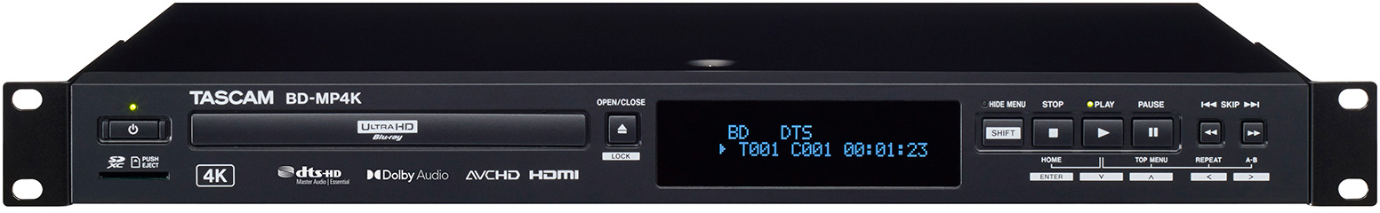 Tascam BD-MP4K 1U Rackmount 4K UHD Blu-ray/DVD/CD/SD/USB Multi-Media Player with External Remote Control Support  BD-MP4K