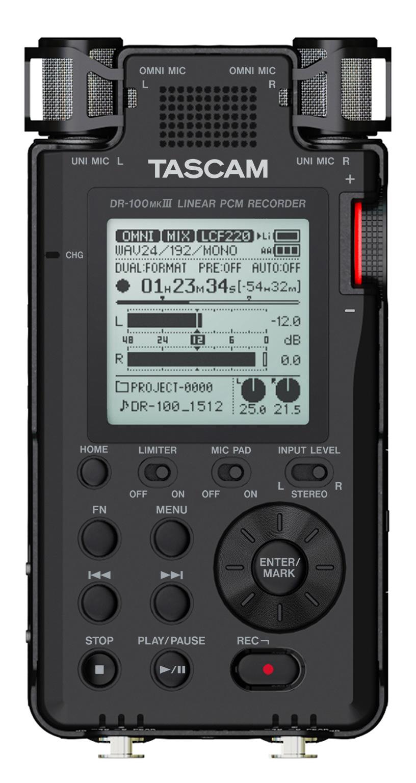 tascam dr 100 mkiii 192khz 24 bit stereo portable recorder. Black Bedroom Furniture Sets. Home Design Ideas