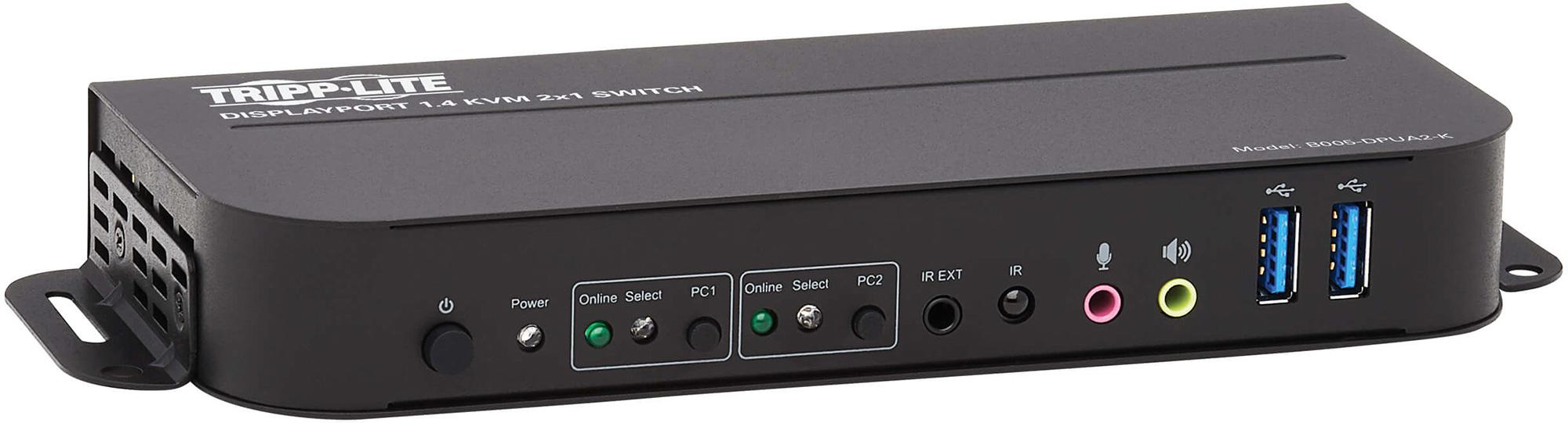 Tripp Lite B005-DPUA2-K DisplayPort USB KVM Switch 2-Port 4K 60Hz HDR DP 1.4 USB Cables TRL-B005-DPUA2-K