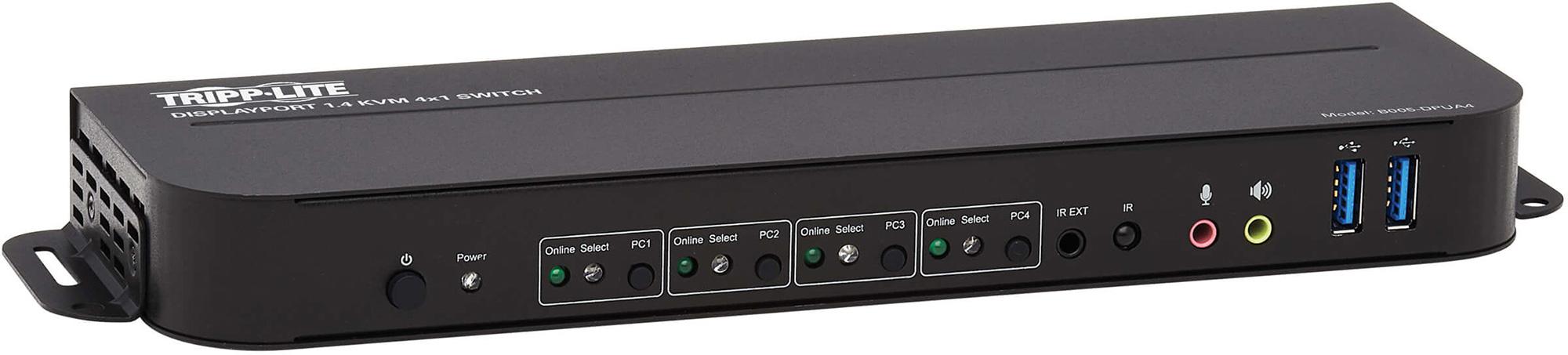 Tripp Lite B005-DPUA4 DisplayPort USB KVM Switch 4-Port 4K 60Hz HDR DP 1.4 USB Sharing TRL-B005-DPUA4