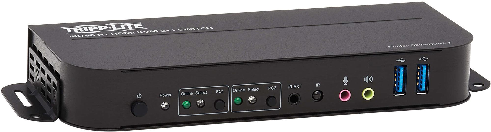 Tripp Lite B005-HUA2-K HDMI USB KVM Switch 2-Port 4K 60Hz HDR HDCP 2.2 IR USB Cables  B005-HUA2-K