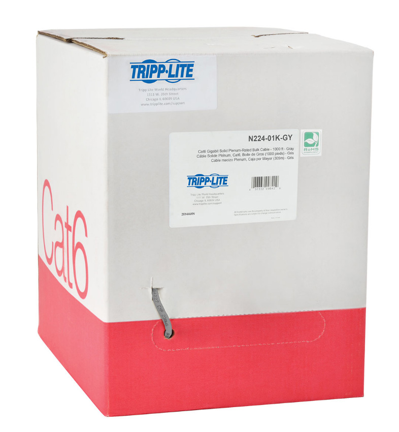 Tripp Lite N224 01k Gy Cat6 Gigabit Bulk Solid Plenum