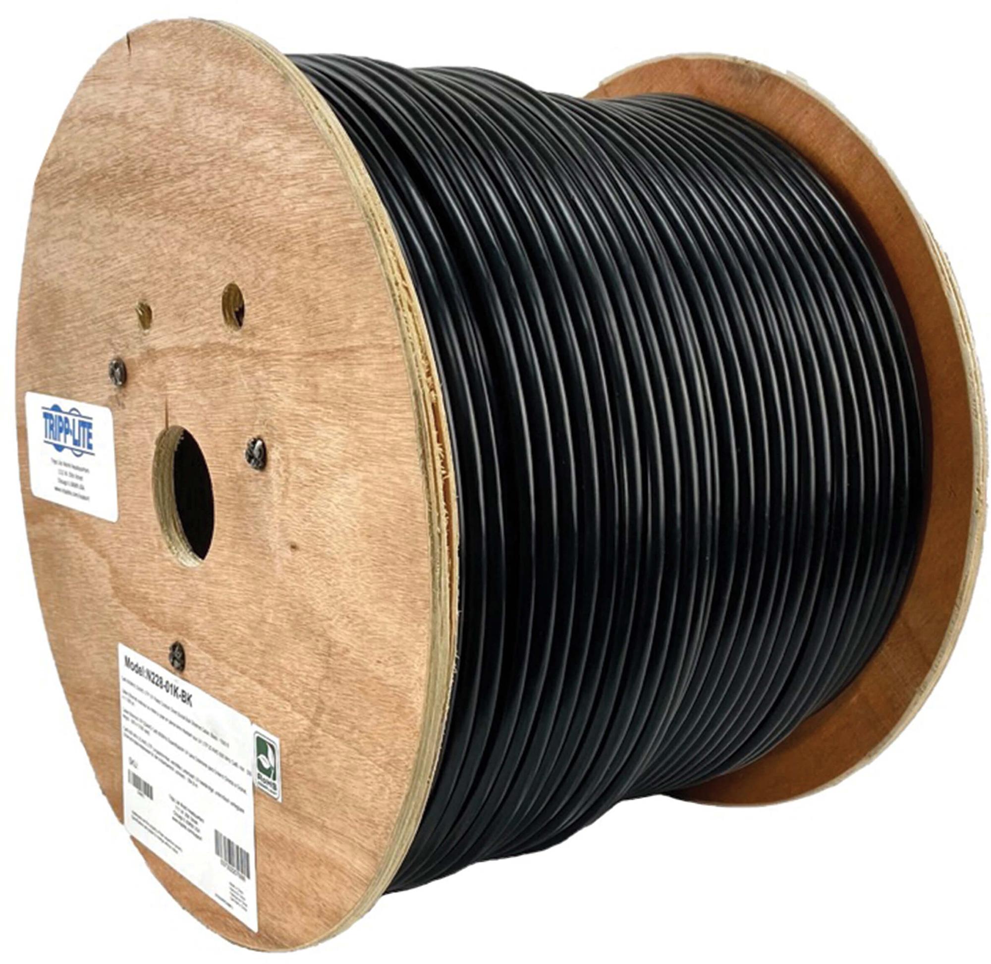 Tripp Lite N228-01K-BK Cat6/Cat6e Bulk Ethernet Cable 600MHz Outdoor-Rated - Black - 1000 Foot TRL-N228-01K-BK