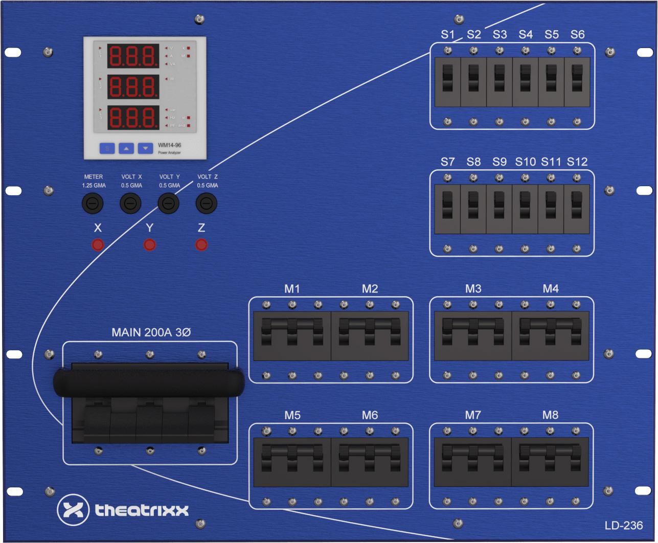 Theatrixx LD236B 200A 120/208V Main Breaker on CAM In/Thur 48x20A Electrical Distribution System - 9RU TTX-LD236B