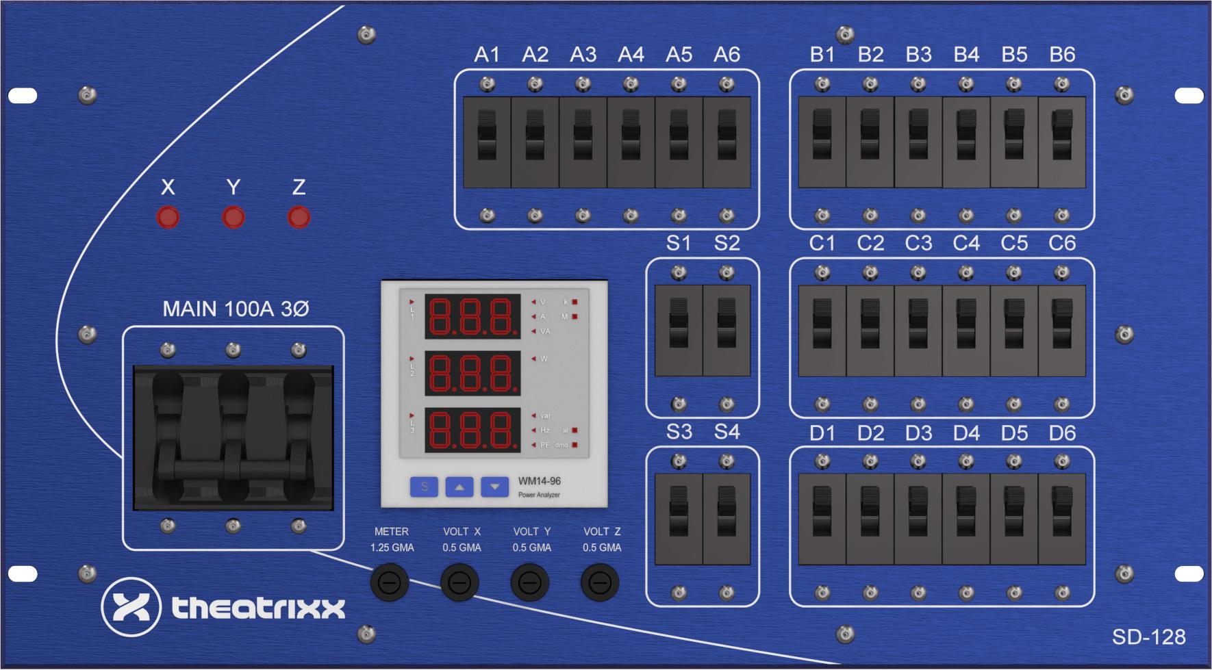 Theatrixx SD128A 200A 120/208V Electrical Distribution System - 6RU TTX-SD128A