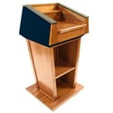 Amplivox SW3040-MH Patriot Lectern- Solid Hardwood With Fabric Top - Wireless Sound- Mahogany