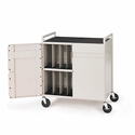 Bretford LAPTG15ESA-GM 15 Laptop Cart w/Rear Elec Panel - 5in Casters - Grey