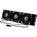 Triple Rackmount Fan with Reversible Assembly 120VAC Black