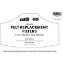 Gator MSK-FTR3 3 Pack of Felt Replacement Filters for Gator Reusable Face Masks
