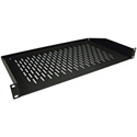 Ventilated Black Finish Rackmount Shelf - 1RU