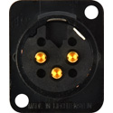Neutrik NC3MD-L-B-1 3-Pin XLR Male Panel/Chassis Mount Connector - Solder Cups - Black/Gold