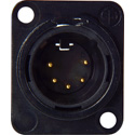 Neutrik NC5MD-L-B-1 Male 5-Pin Chassis Mount XLR - Black/Gold