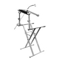 Odyssey LTBXS2MTCP X-Stand Combo Pack Dual Tier Heavy-Duty Folding Stand with Mic Boom & Laptop / Gear Shelf - White