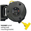 Stage Ninja STX-40-3 Retractable Power Reel With 3-Tap Head and Circuit Breaker (12/3 AWG) - Yellow - 40 Foot