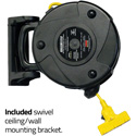 Stage Ninja STX-50-3 Retractable Power Reel with 3-Tap Head and Circuit Breaker (14/3 AWG) - Yellow - 50 Foot