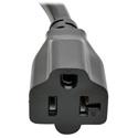 Tripp Lite P046-06N-T Heavy-Duty Power Adapter Cord 20A 12  AWG (NEMA L5-20P to NEMA 5-15/20R) Locking Connector 6 Inch