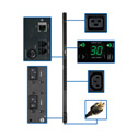 Tripp Lite PDUMNV30HV2 5/5.8kW Single-Phase Monitored PDU 208/240V Outlets L6-30P 10 Foot Cord 0U Vertical TAA