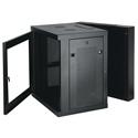 Tripp Lite 12U Low-Profile Wall-Mount Rack Enclosure w/ Clear Acrylic Window Double Hinge Removable Side Panels 25x24x22