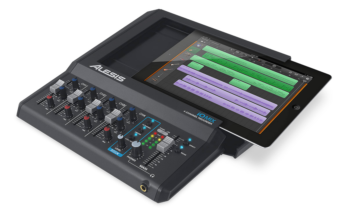 alesis io mix 4 channel audio interface mixer for ipad. Black Bedroom Furniture Sets. Home Design Ideas