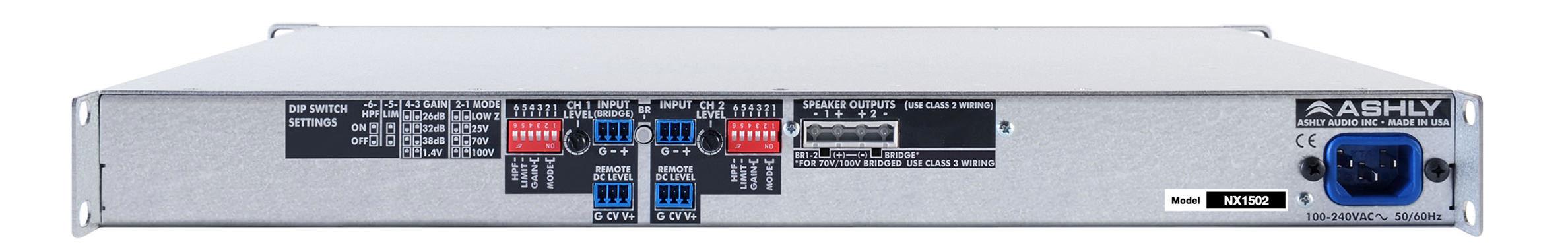 Ashly Nx1502 1ru Audio Power Amplifier 2 Channel X 150 Watts Class Wiring