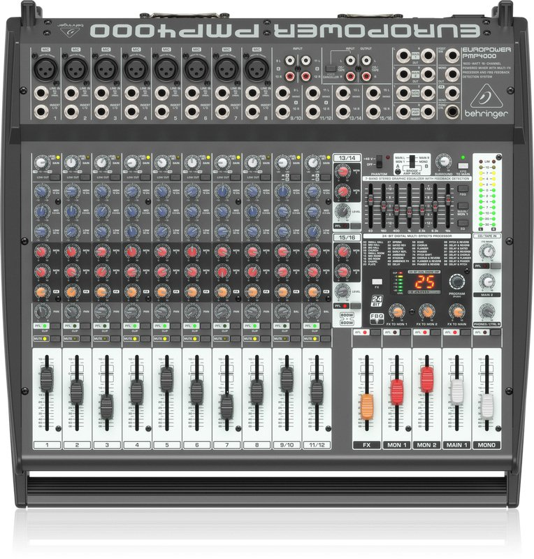 behringer europower pmp4000 1600 watt 16 channel powered mixer. Black Bedroom Furniture Sets. Home Design Ideas