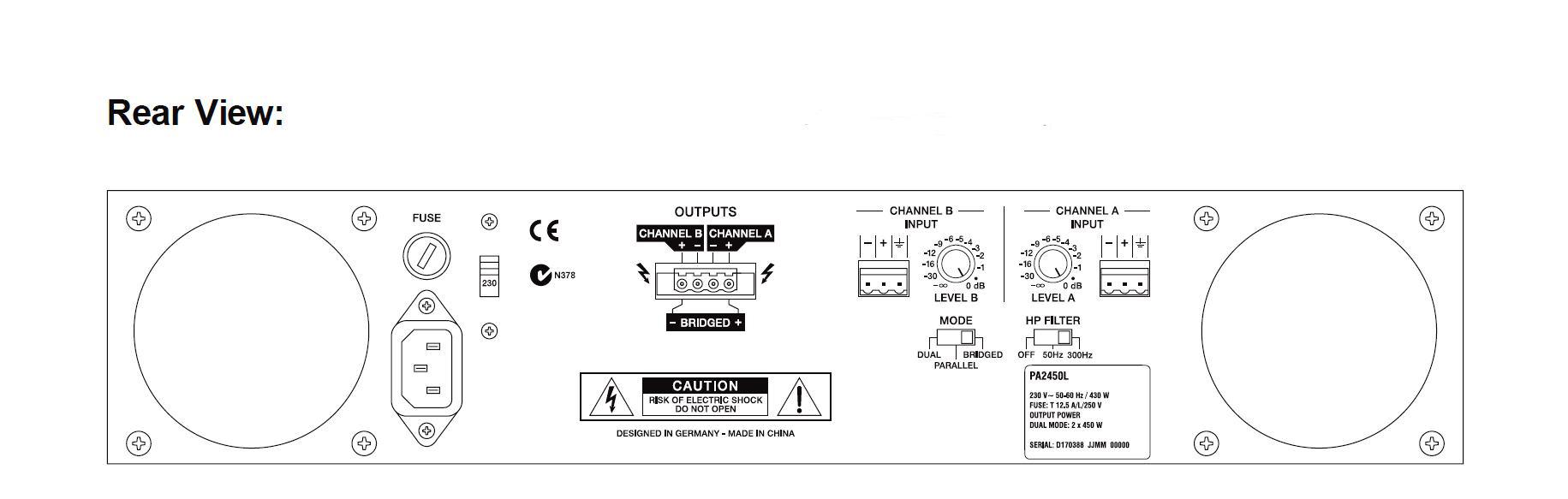 Electro Voice Pa 2450l 2 X 450 Watt Dual Channel Power Amplifier Bridging Adapter For Amplifiers