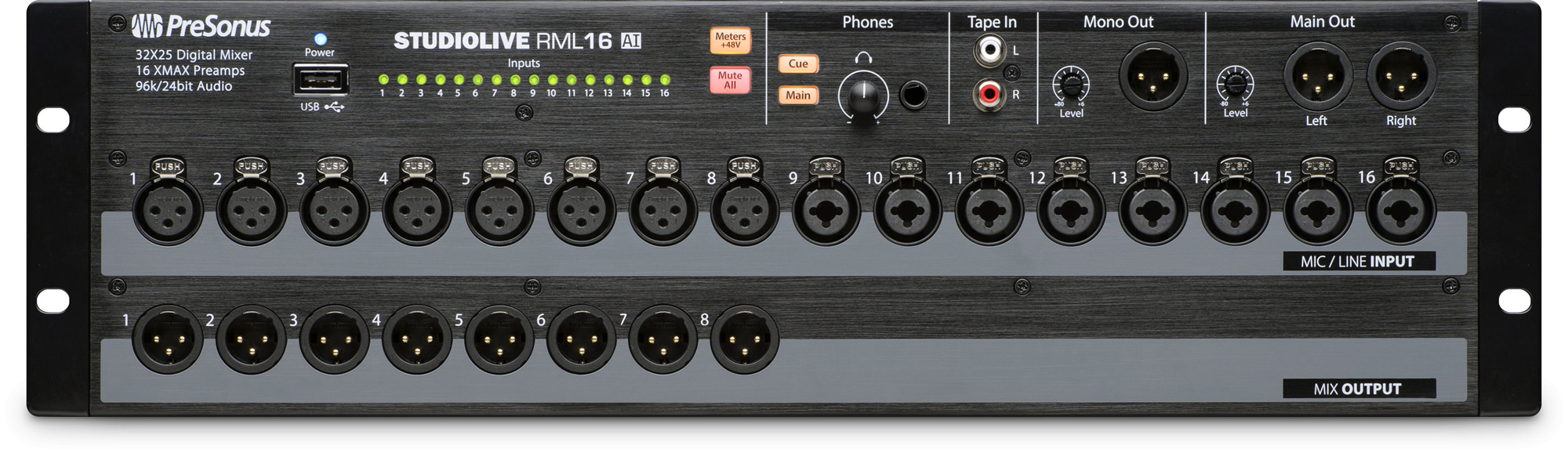 presonus studiolive rml16 ai 16 channel rack mount digital mixer with 16 remote xmax preamps. Black Bedroom Furniture Sets. Home Design Ideas