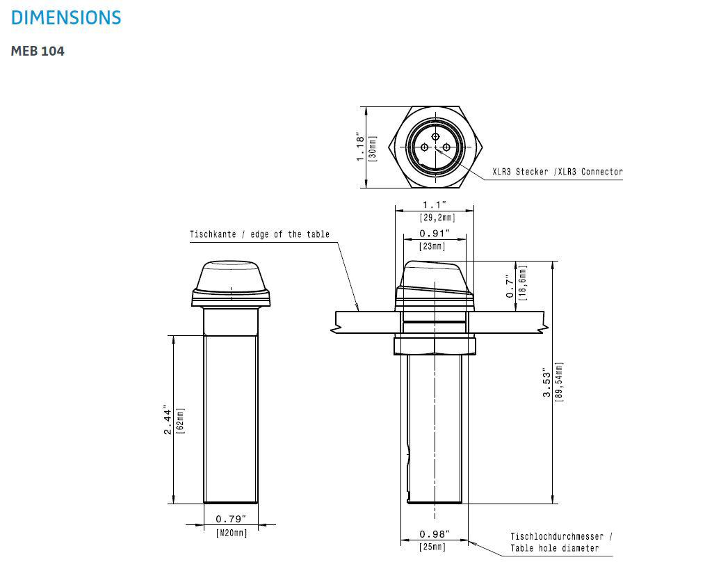 Sennheiser Meb104b Speechline Install Boundary Mic Cardioid Black Microphone Wiring Diagram