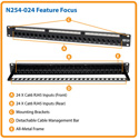 Tripp Lite N254-024 24-Port Cat6 Wall-Mount Feed-through Patch Panel